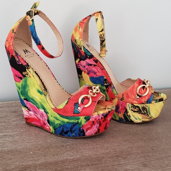 Shoes Bright Floral Wedges Poshmark